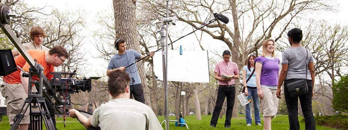 entire film crew on location outdoors at Minneapolis College