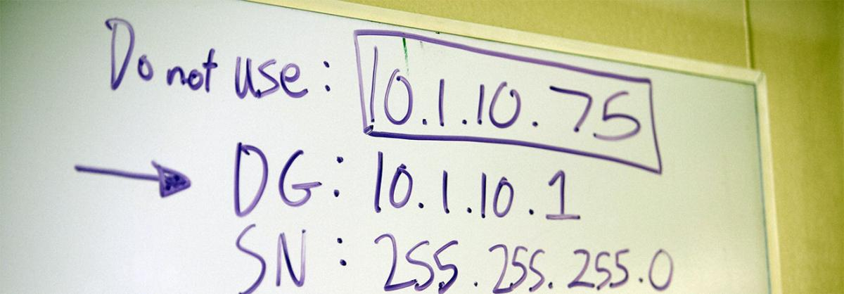 Whiteboard showing some IP Addresses used in class at Minneapolis College