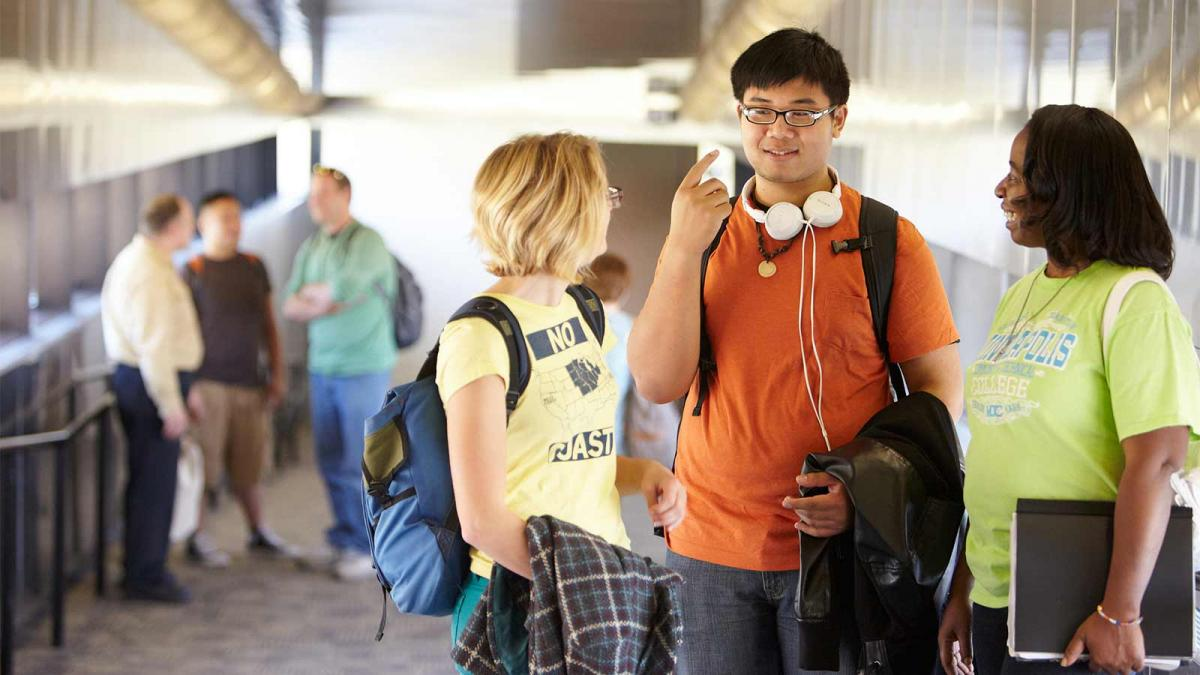 Students Socializing in the Skyway at Minneapolis College