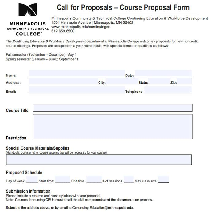 Course Proposal Form Cover