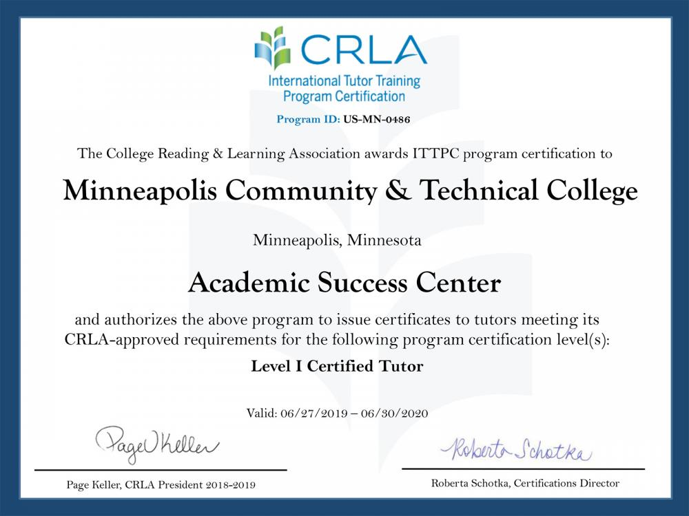 CRLA Certificate for the Academic Success Center at Minneapolis College